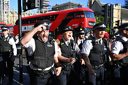 © Licensed to London News Pictures. 31/05/2020. London, UK. Police react to protestors. Demonstrators gathered Parliament in London, protesting the police killing of George Floyd, an unarmed black man in Minneapolis who died in police custody while an officer kneeled on his neck to pin him down. Photo credit: Guilhem Baker/LNP