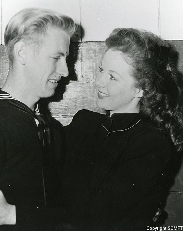 1944 Susan Hayward with a sailor at the Hollywood Canteen