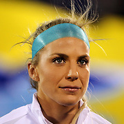 Julie Johnston, USA, during team National Anthems before the USA Vs Colombia, Women's International friendly football match at the Pratt & Whitney Stadium, East Hartford, Connecticut, USA. 6th April 2016. Photo Tim Clayton