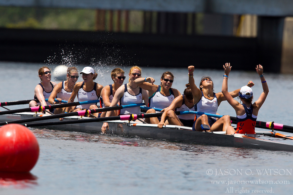 May 30, 2010; Sacramento, CA, USA; The University of Virginia Varsity Eight team of Coxswain Sidney Thorsten (right), Jennifer Cromwell, Katrin Reinert, Desiree Burns, Kristine O'Brien, Martha Kuzzy, Helen Tompkins, Nora Phillips and Summers Nelson celebrate after finishing second in the Grand Final during the Division I 2010 NCAA Women's Rowing Championships at the Sacramento State Aquatic Center.  Virginia won the national championship in the team competition.  (Special to the Daily Progress / Jason O. Watson)