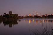 Phillips 66 oil refinery from Ken Malloy Harbor Regional Park, Wilmington, California, USA