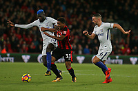 Football - 2017 / 2018 Premier League - AFC Bournemouth vs. Chelsea<br /> <br /> Tiemoue Bakayoko of Chelsea shrugs Bournemouth's Jordon Ibe off the ball at Dean Court (Vitality Stadium) Bournemouth <br /> <br /> COLORSPORT/SHAUN BOGGUST