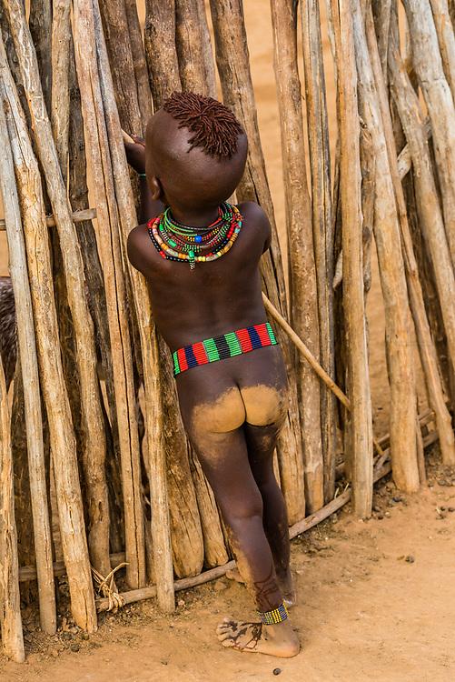 Hamer tribe children with bare bottoms, Omo Valley, Ethiopia.