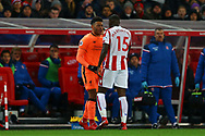 Alex Oxlade-Chamberlain of Liverpool (l) and Bruno Martins Indi of Stoke City square up following a tackle. Premier league match, Stoke City v Liverpool at the Bet365 Stadium in Stoke on Trent, Staffs on Wednesday 29th November 2017.<br /> pic by Chris Stading, Andrew Orchard sports photography.