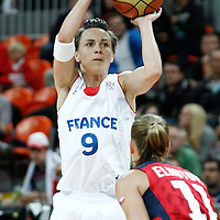 07 August 2012: France Celine Dumerc takes a jumpshot during 71-68 Team France victory over Team Czech Republic, during the women's basketball quarter-finals, at the Basketball Arena, in London, Great Britain.