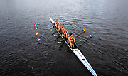 Glasgow, Scotland, Friday, 3rd  August 2018, Romanian Women's Quadruple Sculls, ROU W4X, pass under the bridge linking the Finish Tower Island, to the Shore, at the, European Games, Rowing, Strathclyde Park, North Lanarkshire, © Peter SPURRIER/Alamy Live News