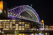 View of Sydney Harbour Bridge and The Park Hyatt during Vivid Sydney 2016