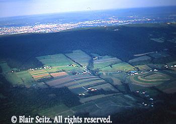 Wyoming Valley, Mountain Range, Farmland, Wilkes-Barre, aerial