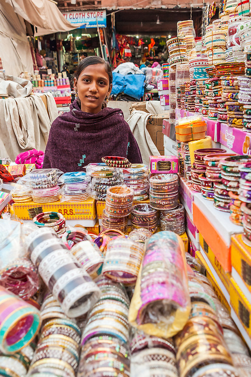 A woman selling bangles in a market in Jodhpur, India.