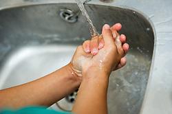 Children at washing their hands