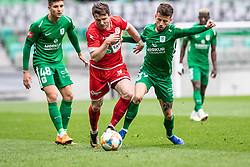 Matjasic Jure of NK  Aluminij vs Suljic Asmir of NK Olimpija Ljubljana and Andrejasic Jan of NK Olimpija Ljubljana during football match between NK Olimpija Ljubljana and NK Aluminij in Round #27 of Prva liga Telekom Slovenije 2018/19, on April 14th, 2019 in Stadium Stozice, Slovenia Photo by Matic Ritonja / Sportida