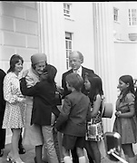 President Childers Inaugerated     (F26)..1973..25.06.1973..06.25.1973..25th June 1973..After his inaugeration President Childers returned to take up residence in Áras an Uachtaráin,Phoenix Park, Dublin..An informal picture of President and Mrs Childers being mobbed by their happy grandchildren. Nessa Childers ,the presidents daughter is in the background.