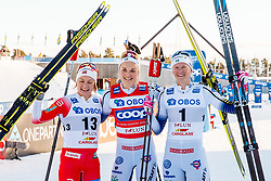 March 16, 2019 - Falun, SWEDEN - 190316  Maiken Caspersen Falla of Norway, Stina Nilsson and Maja Dahlqvist of Sweden celebrates after the Women's cross-country skiing sprint final during the FIS Cross-Country World Cup on march 16, 2019 in Falun  (Credit Image: © Daniel Eriksson/Bildbyran via ZUMA Press)