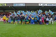 Haydon the Womble during the EFL Sky Bet League 1 match between AFC Wimbledon and Accrington Stanley at the Cherry Red Records Stadium, Kingston, England on 6 April 2019.
