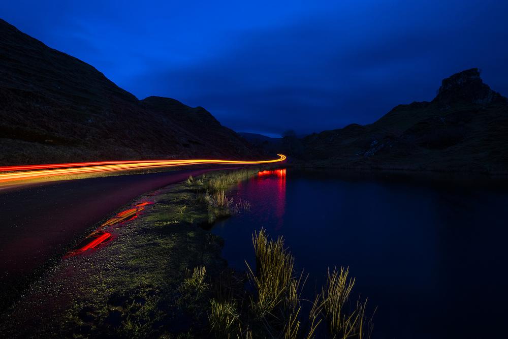 SCOTLAND - CIRCA APRIL 2016: Car trails in the Fairy Glen in Skye an Island in Scotland