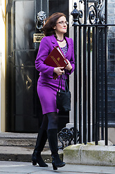 Downing Street, London, April 12th 2016. Northern Ireland Secretary Theresa Villiers leaves the weekly cabinet meeting. <br /> ©Paul Davey<br /> FOR LICENCING CONTACT: Paul Davey +44 (0) 7966 016 296 paul@pauldaveycreative.co.uk