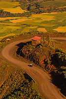 A tuk tuk on the rough dirt road leading to Lalibela, Ethiopia.