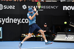 January 10, 2019 - Sydney, NSW, U.S. - SYDNEY, AUSTRALIA - JANUARY 10: at The Sydney International Tennis in the match between Alex De Minaur (AUS) and Jordan Thompson (AUS) on January 10, 2018, at Sydney Olympic Park Tennis Centre in Homebush, Australia. (Photo by Speed Media/Icon Sportswire) (Credit Image: © Steven Markham/Icon SMI via ZUMA Press)