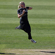 Kate Pulford bowling during the match between New Zealand and India in the Super 6 stage of the ICC Women's World Cup Cricket tournament at North Sydney  Oval, Sydney, Australia on March 17, 2009. Photo Tim Clayton