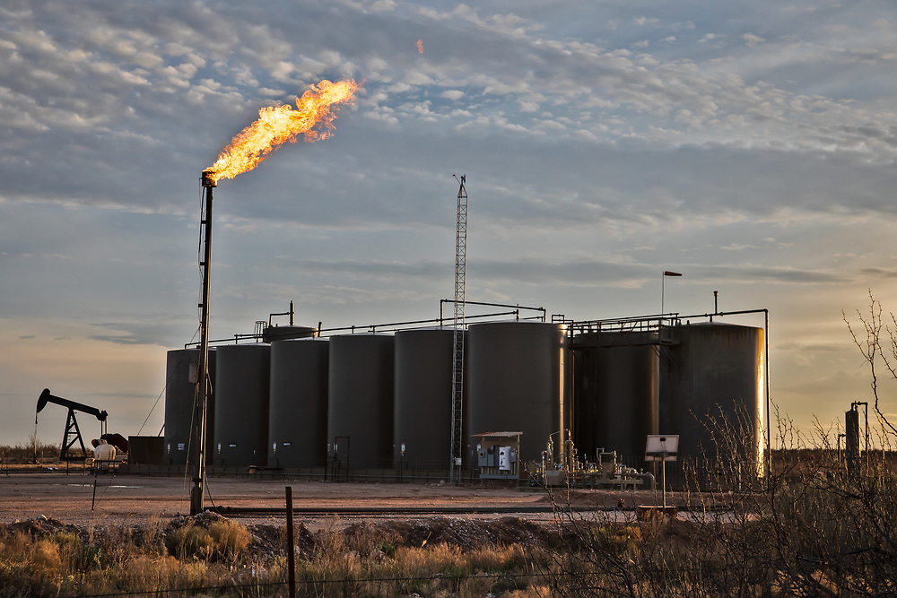 Flare at a well site in the Permian Basin just outside Carlsbad, NM.