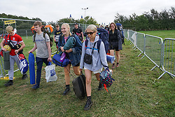 © Licensed to London News Pictures. 25/08/2021. Leeds, UK. Early bird festival-goers arrive at Leeds festival in Bramham Park. Photo credit: Ioannis Alexopoulos/LNP
