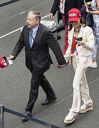Jean Todt, Michelle Yeoh stroll along the pit lane at the 77th Monaco Grand Prix, Monaco on May 26th, 2019. Photo by Marco Piovanotto/ABACAPRESS.COM