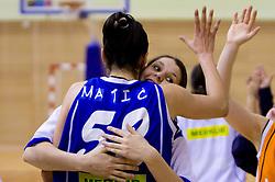 Players of Celje Ivona Matic and Anja Klavzar celebrate at finals match of Slovenian 1st Women league between KK Hit Kranjska Gora and ZKK Merkur Celje, on May 14, 2009, in Arena Vitranc, Kranjska Gora, Slovenia. Merkur Celje won the third time and became Slovenian National Champion. (Photo by Vid Ponikvar / Sportida)