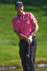 May 2, 2019 - Charlotte, NC, U.S. - CHARLOTTE, NC - MAY 02: Webb Simpson watches a chip to the 14th green during the first round of the Wells Fargo Championship at Quail Hollow on May 2, 2019 in Charlotte, NC. (Photo by William Howard/Icon Sportswire) (Credit Image: © William Howard/Icon SMI via ZUMA Press)