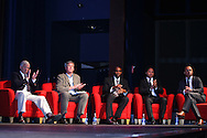 04 June 2011: 2011 Inductees (from left): Bob Gansler (builder), Bruce Murray (veteran), Eddie Pope (player), Cobi Jones (player), and Earnie Stewart (player). The 2011 National Soccer Hall of Fame Induction Ceremony was held at Showcase Live! at Patriot Place next to Gillette Stadium in Foxborough, Massachusetts before an international friendly soccer match.