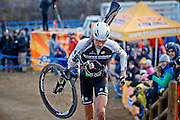 SHOT 1/12/14 4:35:36 PM - Ryan Trebon (#4) of Bend, Ore. competes in the Men's Elite race at the 2014 USA Cycling Cyclo-Cross National Championships at Valmont Bike Park in Boulder, Co. Trebon finished second in the race with a time of 59:59. (Photo by Marc Piscotty / © 2014)