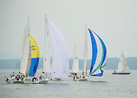 Sailors head out of Saunders Bay during the Winnipesaukee Yacht Club's 1st annual JBT Regatta on Saturday.  (Karen Bobotas/for the Laconia Daily Sun)