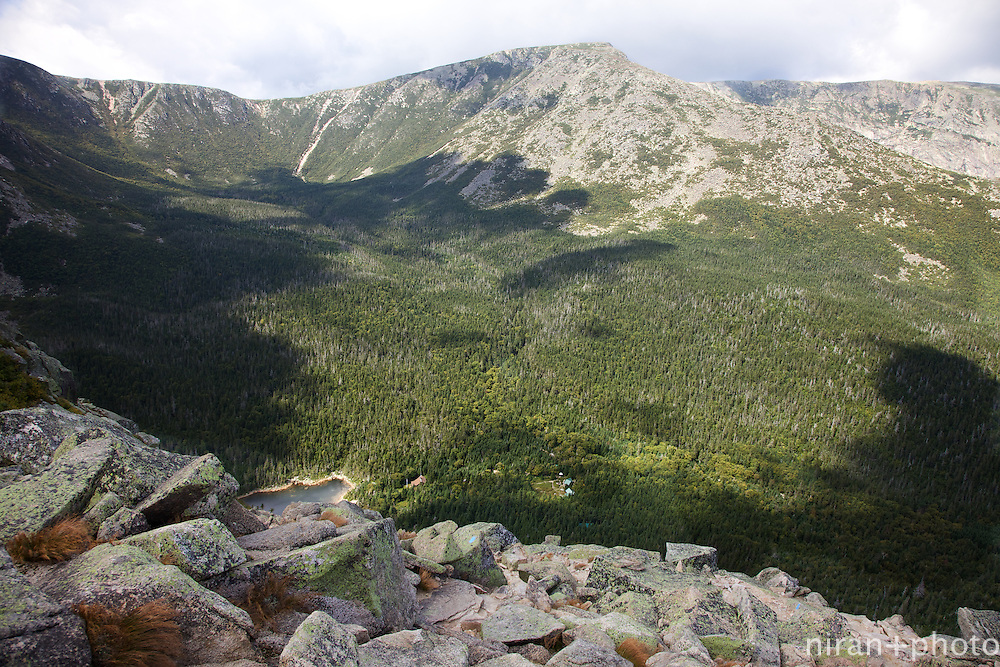 The view from Dudley Trail down to Chimney Pond. Progress!