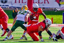 NORMAL, IL - October 16: Nigel White attempts a run up the middle but is met by Jackson Hankey during a college football game between the NDSU (North Dakota State) Bison and the ISU (Illinois State University) Redbirds on October 16 2021 at Hancock Stadium in Normal, IL. (Photo by Alan Look)