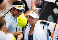 January 2, 2019 - Brisbane, AUSTRALIA - Anett Kontaveit of Estonia signs autographs after her second-round match at the 2019 Brisbane International WTA Premier tennis tournament (Credit Image: © AFP7 via ZUMA Wire)