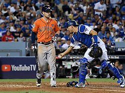 November 1, 2017 - Los Angeles, CA, USA - Los Angeles Dodgers catcher Austin Barnes (15) touches Houston Astros' Alex Bregman (2) after he strikes out swinging against Clayton Kershaw (not pictured) in the 5th inning of game seven of a World Series baseball game at Dodger Stadium on Wednesday Nov. 1, 2017 in Los Angeles. (Credit Image: © Keith Birmingham/Los Angeles Daily News via ZUMA Wire)