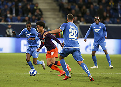 October 2, 2018 - Sinsheim, Germany - Leroy Sane 19; seen in action during the UEFA Champions League group F football match between TSG 1899 Hoffenheim and Manchester City at the Rhein-Neckar-Arena. (Credit Image: © Elyxandro Cegarra/SOPA Images via ZUMA Wire)