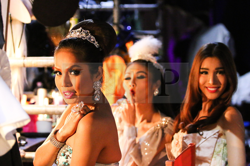 © Licensed to London News Pictures. 13/05/2015. Brighton, UK. Members of the Lady Boys of Bangkok show prepare backstage for their performance of Beauty and the Beats show on Wednesday evening May 13th 2015 in Brighton. The month long stay in Brighton is part of the 2015 Fringe Festival. Photo credit : Hugo Michiels/LNP