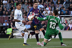 May 12, 2019 - Barcelona, Spain - Leo Messi, Olivera and David Soria during the match between FC Barcelona angd Getafe, corresponding to the round 37 of the Liga Santander, played at the Camp Nou Stadium, on 12th May 2019, in Barcelona, Spain. (Credit Image: © Joan Valls/NurPhoto via ZUMA Press)