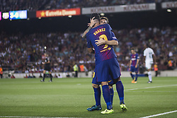 August 7, 2017 - Barcelona, Spain - 09 Luis Suarez from Uruguay of FC Barcelona celebrating his goal with 10 Leo Messi from Argentina of FC Barcelona during the Joan Gamper Trophy match between FC Barcelona vs Chapecoense at Camp Nou Stadium on August 7th, 2017 in Barcelona, Spain. (Credit Image: © Xavier Bonilla/NurPhoto via ZUMA Press)