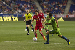 June 13, 2018 - Harrison, New Jersey, United States - Sean Davis (27) of Red Bulls controls ball during regular MLS game against Seattle Sounders at Red Bull Arena Red Bulls won 2 -1  (Credit Image: © Lev Radin/Pacific Press via ZUMA Wire)
