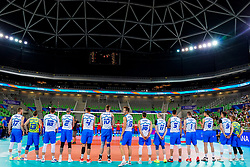 Players of Slovenia during volleyball match between Cuba and Slovenia in Final of FIVB Volleyball Challenger Cup Men, on July 7, 2019 in Arena Stozice, Ljubljana, Slovenia. Photo by Matic Klansek Velej / Sportida