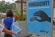 Beware of pickpockets sign Photographed in Switzerland