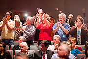 06 OCTOBER 2011 - MESA, AZ: People cheer for State Sen Russell Pearce at the debate between Jerry Lewis and Russell Pearce in Mesa Thursday. Lewis is challenging Pearce in Pearce's recall election after residents of Pearce's district signed petitions calling for the recall the President of the Arizona State Senate.  PHOTO BY JACK KURTZ