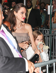 Angelina Jolie and her kids are seen leaving the screening in NYC. 15 Sep 2017 Pictured: Angelina Jolie. Photo credit: ZapatA/MEGA TheMegaAgency.com +1 888 505 6342