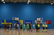Deaf Futsal European championship qualifying tournament. action from the Sweden v Turkey  (in white) match at Cardiff Metropolitan University, in Cardiff , South Wales on Friday 19th January 2018.  pic Andrew Orchard/Andrew Orchard sports photography