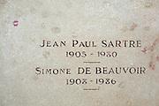 Grave of writers and philospher Jean Paul Sartre and Simone de Beauvoir in Montparnasse Cemetery, Paris.