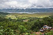 Landscape of lake and village in Batang Toru ecosystem, Tapanuli District, Sumatra, Indonesia