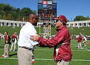 Oct 2, 2010; Charlottesville, VA, USA; Virginia Cavaliers head coach Mike London, left, shakes hands with Florida State head coach Jimbo Fisher before the start of the game at Scott Stadium.  Mandatory Credit: Andrew Shurtleff