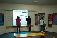 People watching salmon as seen  through the viewing windows at Bonneville Dam on the Columbia River, OR.