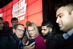 © Licensed to London News Pictures. 17/01/2020. Manchester, UK. REBECCA LONG-BAILEY is shown something on a mobile phone by a member of the audience . Salford & Eccles MP Rebecca Long-Bailey launches her campaign to succeed Jeremy Corbyn in the race for Labour Party leadership , at an event in the Museum of Science and Industry in Manchester City Centre . Photo credit: Joel Goodman/LNP